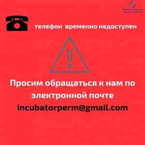 Просим обращаться к нам через электронную почту incubatorperm@gmail.com